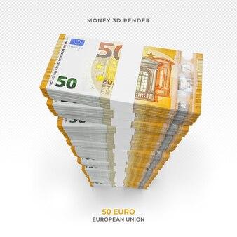 Pila di 50 euro di banconote in denaro 3d rendering