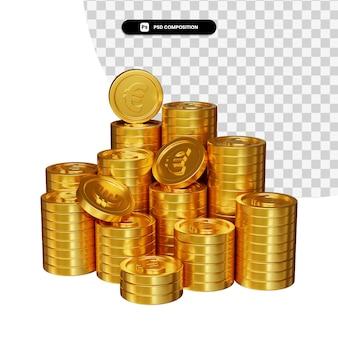 Pila di euro moneta d'oro nella rappresentazione 3d isolata
