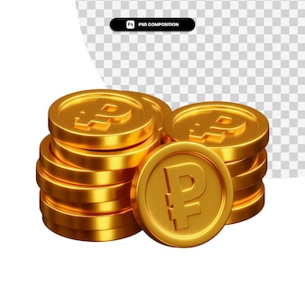 Pila di monete d'oro rendering 3d isolato