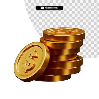 Pila di monete d'oro nella rappresentazione 3d isolata