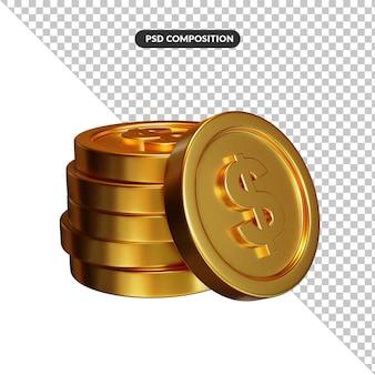 Pila di concetto di attività bancarie e finanza delle monete del dollaro dorato
