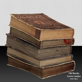 Pila di libri antichi libri antichi isolati libri in pelle vintage in una pila isolata
