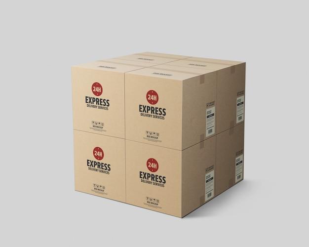 Pila di mockup di scatola di cartone di pacchetti