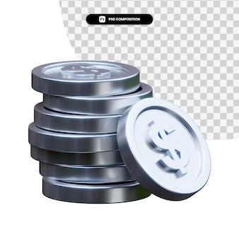 Pila di monete d'argento nella rappresentazione 3d isolata