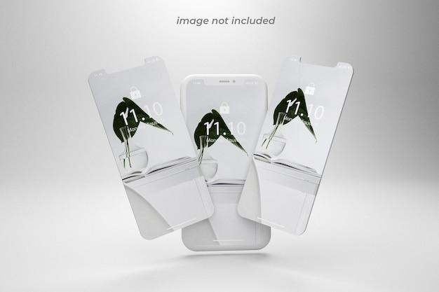 Vista frontale del mockup dello schermo del telefono impilato
