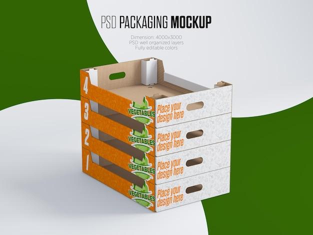Mockup di scatole di verdure impilate