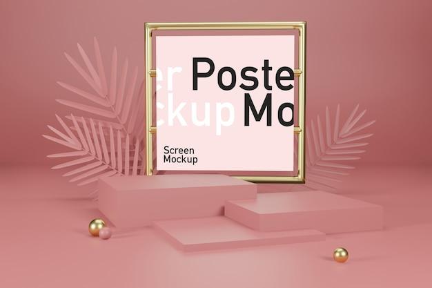Display mockup palco con mockup poster