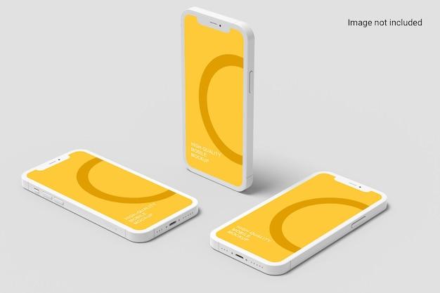 Design mockup per smartphone in piedi e piatto