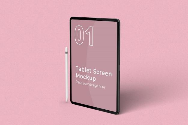 Mockup di schermo per tablet in piedi con vista a destra della matita