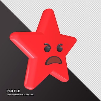 Star emoji 3d rendering angry face isolato