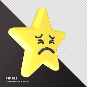 Star emoji 3d rendering persevering face isolato