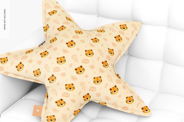 Cuscino a stella con mockup di divano