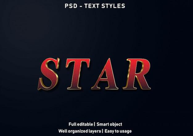 Psd modificabile in stile effetti di testo a stella