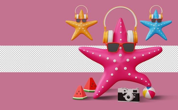 Passo delle stelle marine sul pallone da spiaggia, rendering 3d stagione estiva