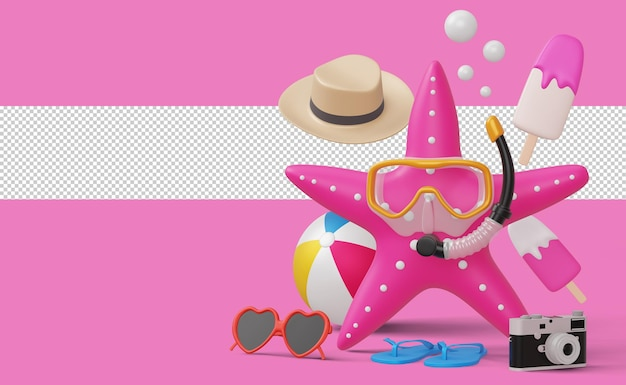 Stella marina che indossa maschera subacquea con attrezzatura da spiaggia, stagione estiva, rendering 3d estivo summer