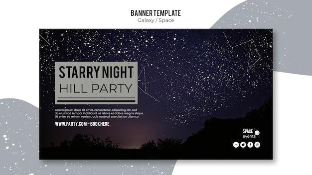 Modello di banner festa di notte stellata