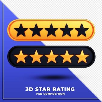 Valutazione delle stelle isolata rendering 3d di progettazione