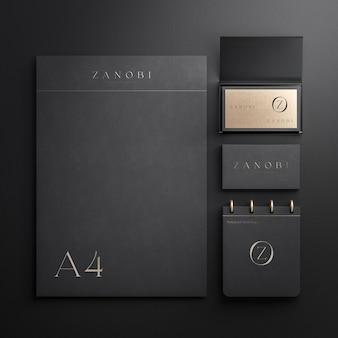 Modello fisso con blocco note per biglietti da visita e carta a4 per il rendering 3d dell'identità del marchio