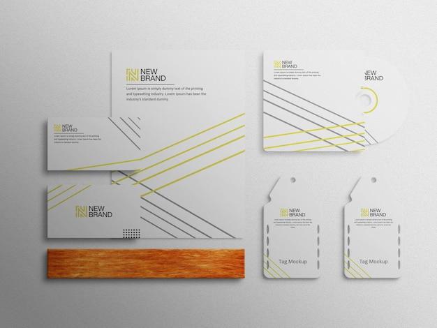 Modello di mockup vista dall'alto dell'identità del marchio aziendale del marchio della cancelleria