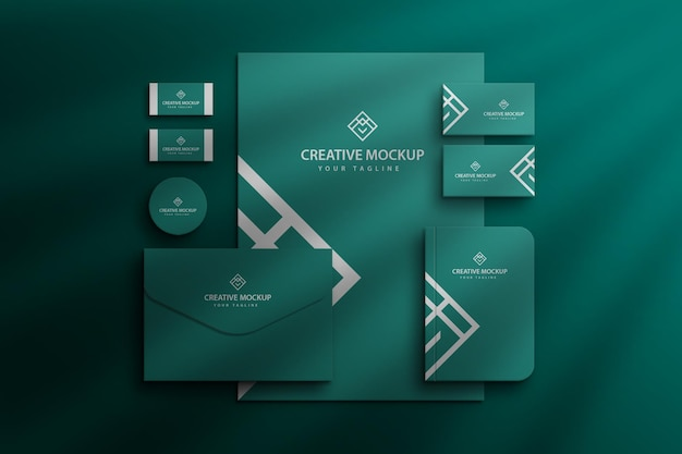 Visualizzazione aziendale del marchio di cancelleria mockup del marchio aziendale psd premium