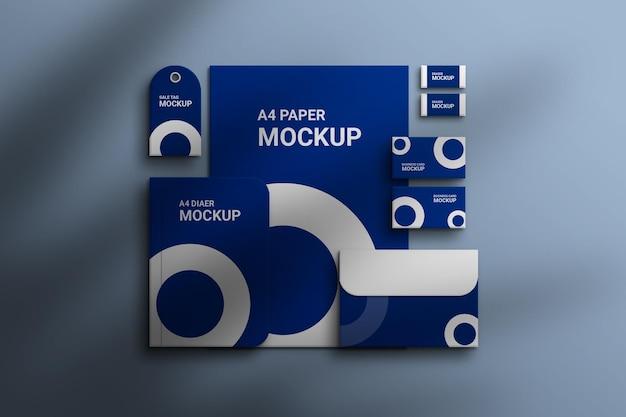 Mockup di visualizzazione aziendale del marchio di cancelleria psd premium