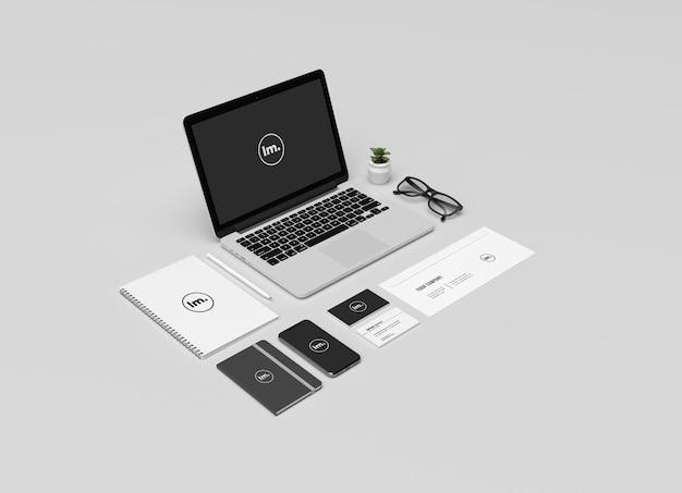Cancelleria e design del mockup del marchio