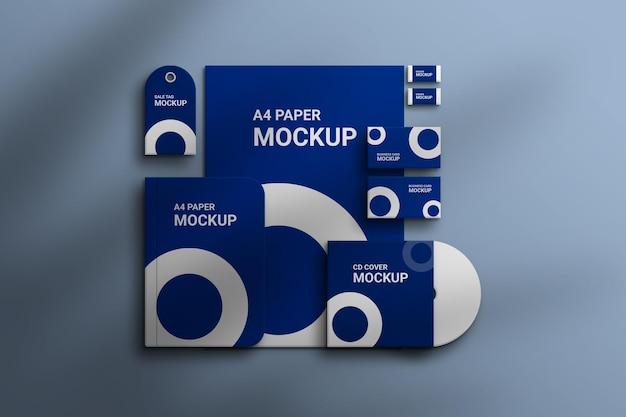 Set di cancelleria con mockup di carta psd premium