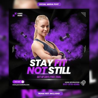 Resta in forma, non ancora in forma, banner sui social media e design di post di instagram