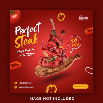 Bistecca cibo menu promozione social media instagram post banner modello