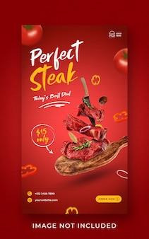 Bistecca cibo menu promozione social media instagram story banner template