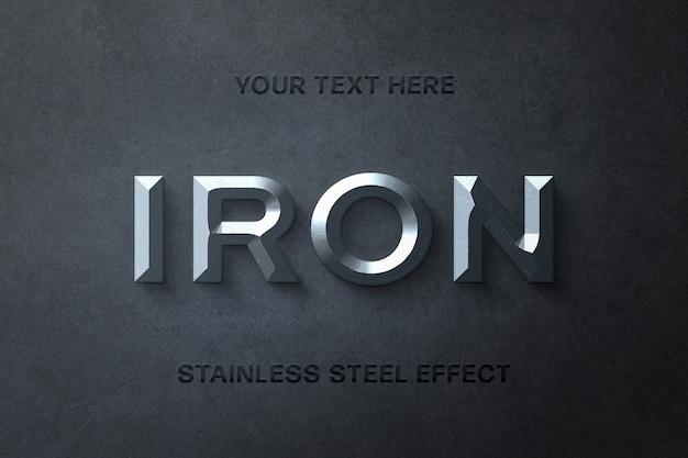 Modello di effetto testo 3d in acciaio