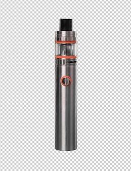 Sigaretta elettronica d'acciaio isolata contro fondo bianco