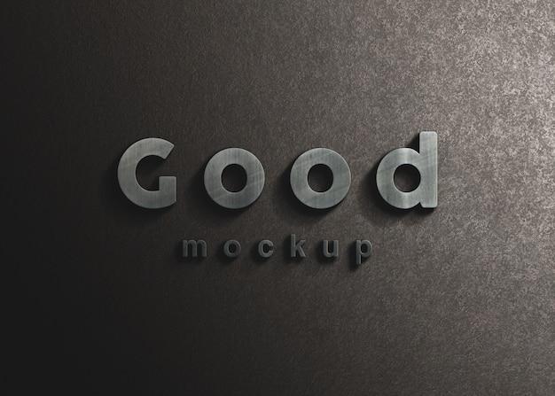 Mockup logo in acciaio