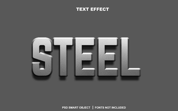 Effetto testo in acciaio. oggetto intelligente di testo modificabile
