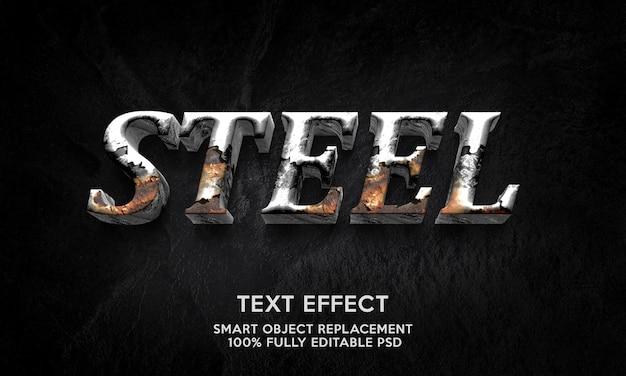 Modello effetto testo in acciaio