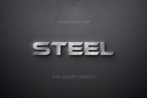 Effetto testo in acciaio con disegno del modello di testo con striscia di ferro