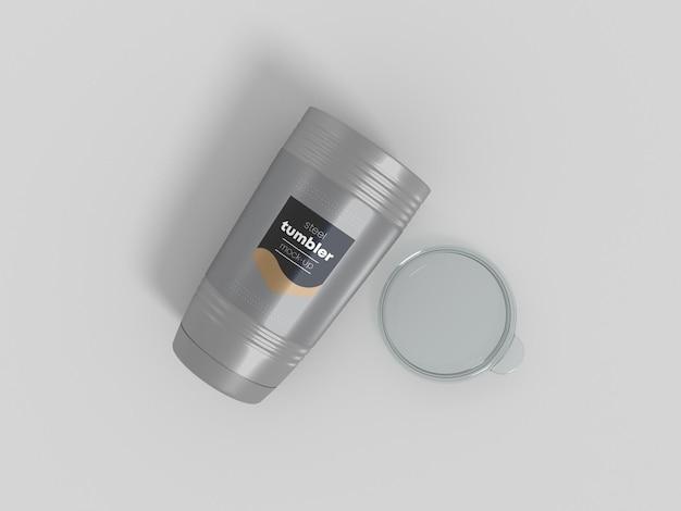 Bicchiere in acciaio con coperchio mockup