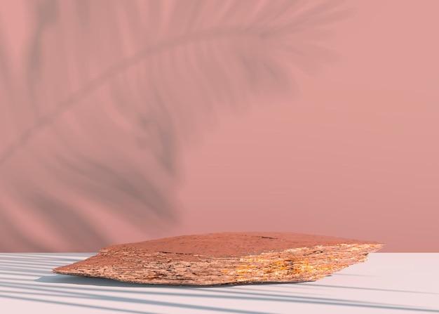 Podio in pietra su sfondo pastello per l'esposizione del prodotto vuoto per la progettazione di mockup. rendering 3d. Psd Premium
