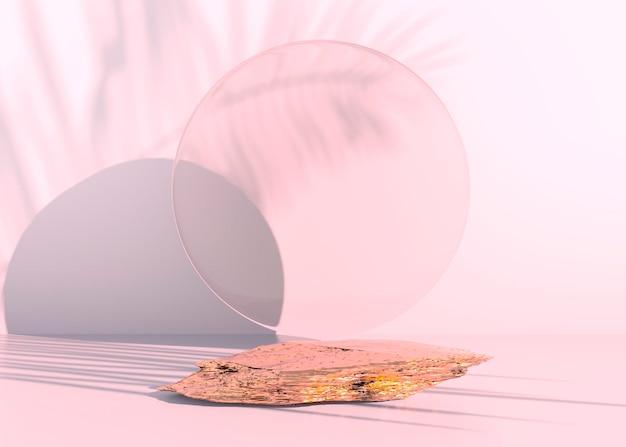 Podio in pietra su sfondo pastello, per l'esposizione del prodotto, vuoto per il design di mockup. rendering 3d.