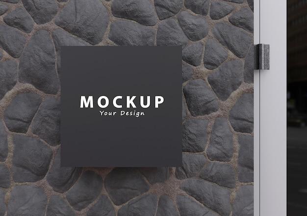 Mockup del logo della placca del segno del muro di pietra