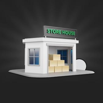 Rendering 3d della casa del negozio
