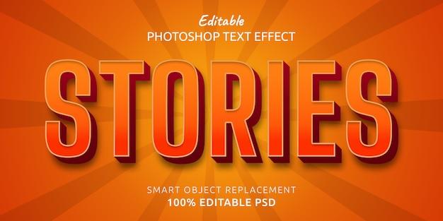 Storie modificabili effetto stile testo di photoshop