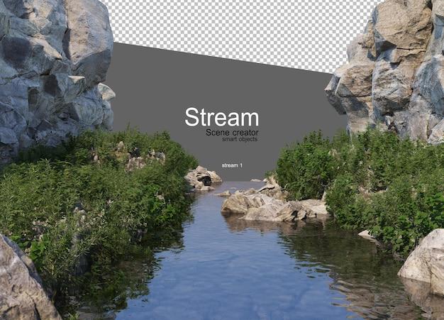Un ruscello che scorre attraverso una grande roccia