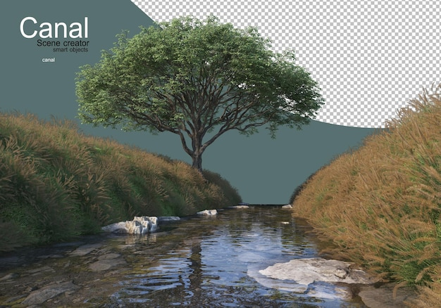 Un ruscello che scorre attraverso le colline erbose dove si formano molti arbusti fioriti Psd Premium