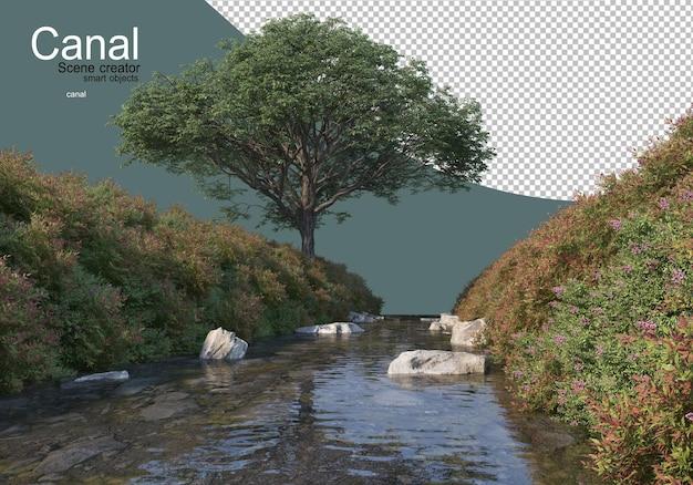 Un ruscello che scorre attraverso le colline erbose dove si formano molti arbusti fioriti