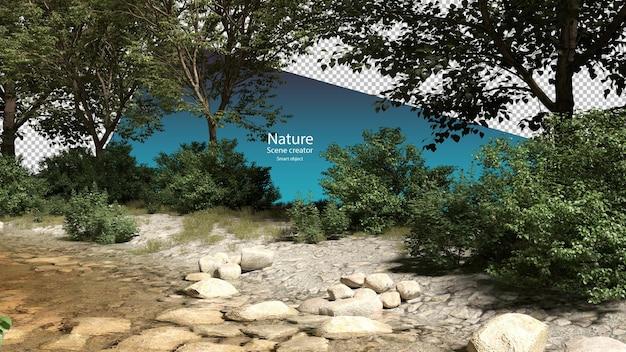 Ruscelli e piante lungo il fiume ruscello percorso di ritaglio dell'ambiente