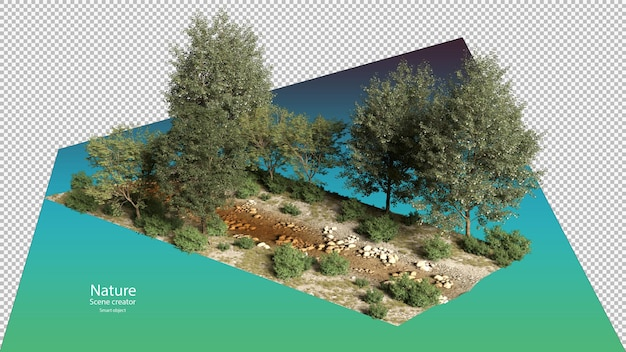 Ruscelli e piante lungo il fiume ruscello ambiente percorso di ritaglio isometrico