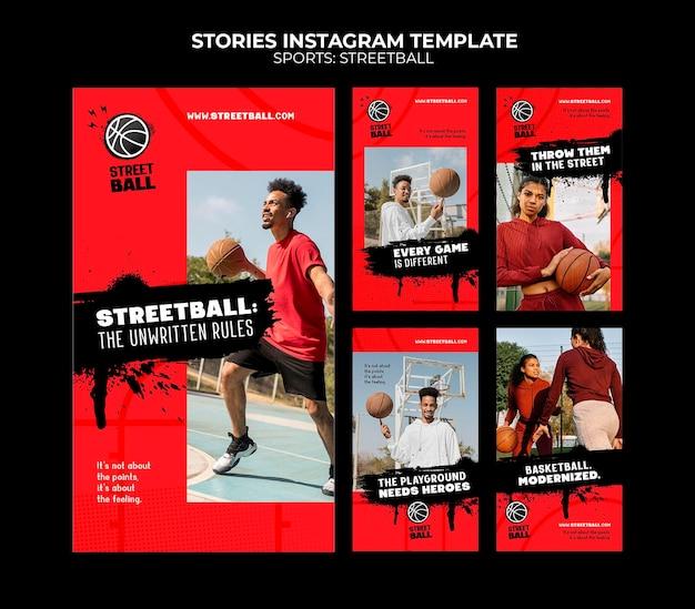 Modello di storie di instagram di streetball