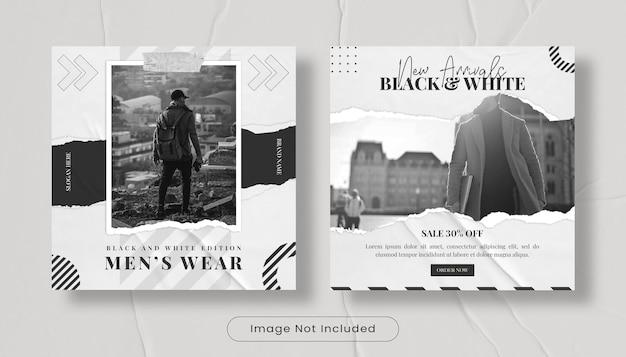 Set di modelli di post banner per feed instagram di moda streewear