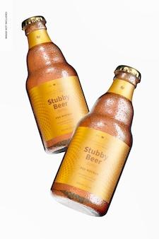 Mockup di bottiglie di birra tozze, galleggianti